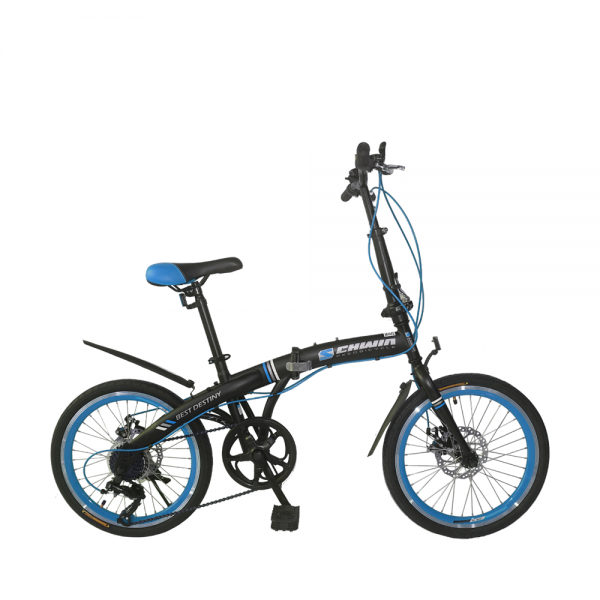 "SCHWIN 20"" Best Destiny Folding Bike - 7 Spds Shimano (MattBlack+Blue)"