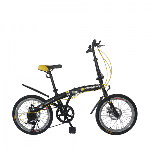 "SCHWIN 20"" Best Destiny Folding Bike - 7 Spds Shimano (MattBlack+Yellow)"