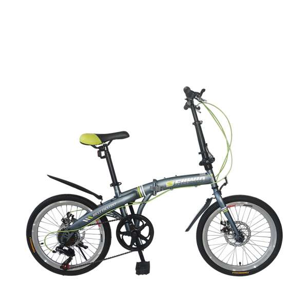 "SCHWIN 20"" Best Destiny Folding Bike - 7 Spds Shimano (MattGrey+Green)"