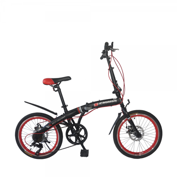 "SCHWIN 20"" Best Destiny Folding Bike - 7 Spds Shimano (MattBlack+Red)"